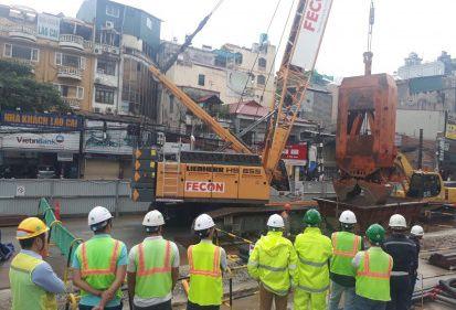 Dự án Metro Line 3: FECON thi công tấm tường vây đầu tiên tại nhà ga S10 (Cát Linh – Giảng Võ)